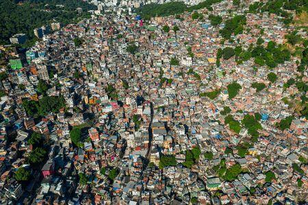 Beautiful, aerial view of Rocinha in Rio de Janeiro