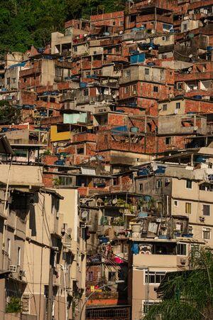 Close up shot of Rocinha favela in Rio de Janeiro Brazil