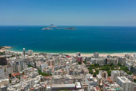 Drone shot of Ipanema and Arpoador in Rio de Janeiro Brazil