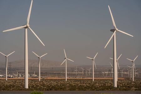 Massive fields of green energy wind turbines near Palm Springs in California