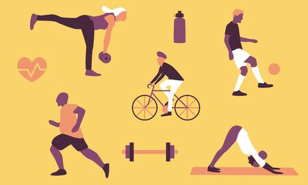Active lifestyle flat vector set with workout icons including man running, riding bicycle and juggling football and woman lifting weights and doing yoga