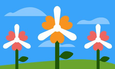 Flat vector illustration of abstract wind turbines or windmills designed as coral and yellow flowers with green stems and leave on a field with a blue sky and clouds. Great for nature background.