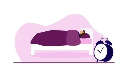 Vector of woman lying on purple and white bed sleeping under blanket with giant alarm clock against purple blob isolated against white background. Great for sleep, early morning or wake up posters. Illustration
