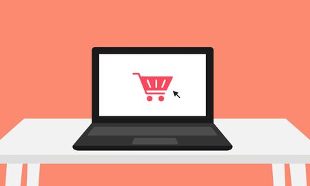 Black laptop with red checkout shopping cart on screen and mouse cursor sitting on a white desk and isolated on a coral background. Vector shows an online purchasing being made. Great for advertising.