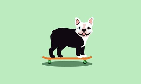 Happy, small, black and white bulldog with pointed ears and one blue and one brown eye standing on an orange skateboard with green wheels and a shadow beneath while smile isolated on green background 向量圖像