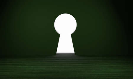 3D rendering of dark room with green glow, wooden floor and large keyhole opening to a bright white light. Concept for safety, security, protection, imagination, privacy, vision and enlightenment. Stock Photo