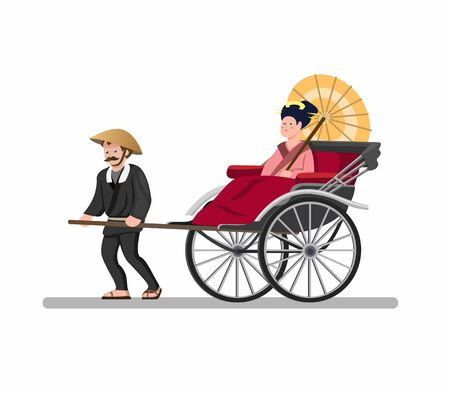 Jinrikisha Traditional Taxi Transportation from Japan, Vintage powered human Carrying Passenger Wear Kimono or Tourist in Cartoon Flat illustration Vector isolated in White Background