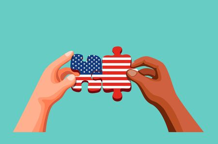 Two People Hand holding and joining  Puzzle with American Flag Symbol for USA Independence Day and Diversity Cultural. Concept in Cartoon Illustration Vector
