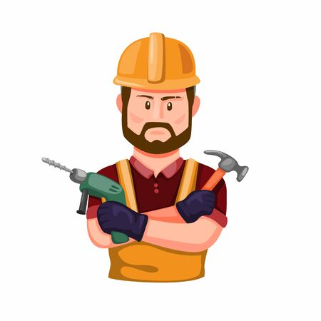Construction Worker holding Drill and Hammer in Hand. Professional Builder with Work Tool Character Figure in Cartoon Illustration Vector on White Background