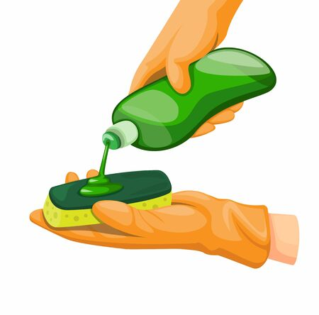 Hand wear Rubber Gloves Pouring Dishwashing Liquid Detergent on Sponge, in Cartoon Realistic illustration Vector Çizim