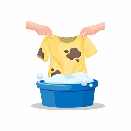 Hand put Dirty Tshirt on Bucket full Soap of Deterent, Washing Clothes Symbol in Cartoon Illustration Vector on White Background Çizim