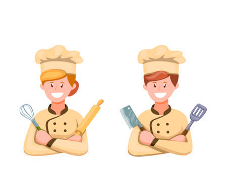 Chef Man and Woman in Uniform Ready To Cooking Symbol Icon Set in Cartoon illustration Vector on White Background Ilustração