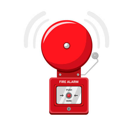 Fire Alarm Equipment, Security alarm system on the wall symbol in cartoon flat illustration vector isolated in white background