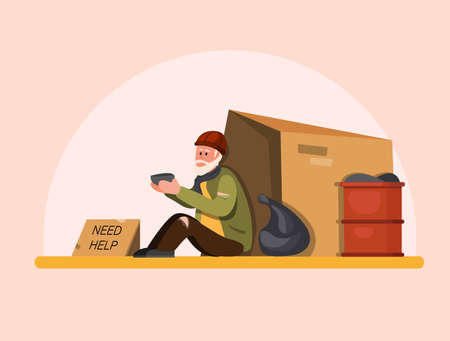 Homeless people need help, poor old man sitting in street waiting people to help. cartoon flat illustration vector