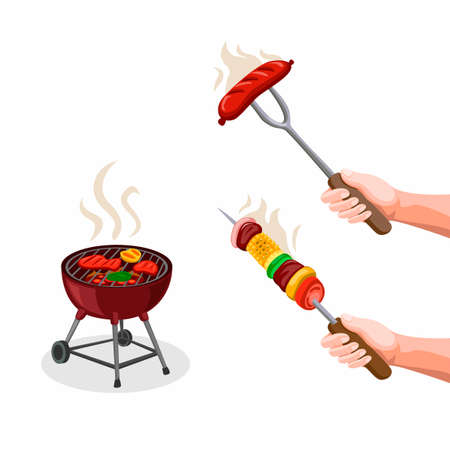 BBQ Party Steak, Kaboob with Vegetable and Grill Food. Summer Season Food Symbol Icon Collection Set in Cartoon illustration Vector on White Background