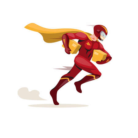Courier express mascot hero, superhero courier running fast carrying package deliver to customer in cartoon flat illustration vector isolated in white background