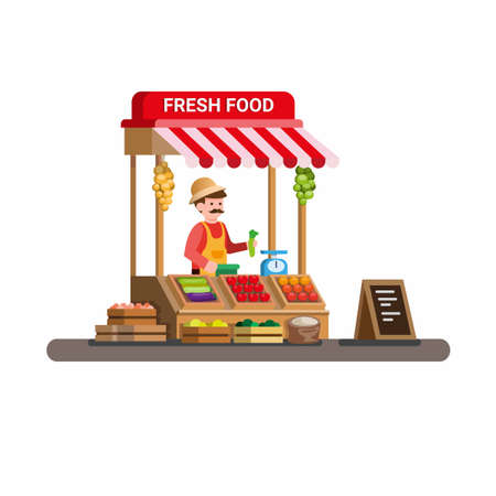 man selling fresh vegetable and fruit in traditional wooden market food stall. cartoon flat illustration vector isolated in white background
