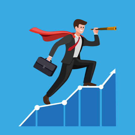 businessman with cloak using telescope on graphic chart. Concept for forecast, prediction, success, business planning in cartoon flat illustration vector