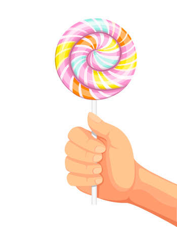 hand holding big lollipop sweet candy in cartoon realistic illustration vector isolated in white background Vectores