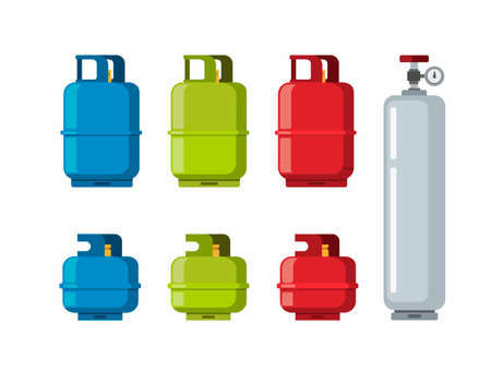 Gas Tank Cylinder, Liquefied Petroleum Gas collection icon set. cartoon flat illustration vector in white background Illustration