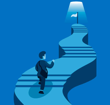 Business man climbing stair to goal. business career development in cartoon illustration vector