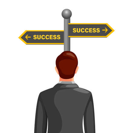 business man confusing choosing way to success with road street board. business management concept in cartoon illustration vector on white background