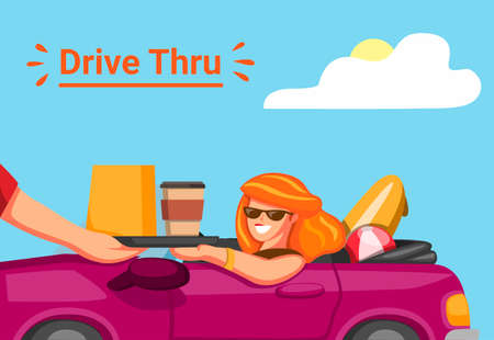 Woman take order in drive thru restorant with driving car in summer holiday in cartoon illustration vector Illustration