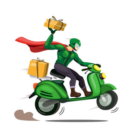 courier man with cloak delivery package to customer ride motorbike. character in cartoon comic illustration vector isolated in white background