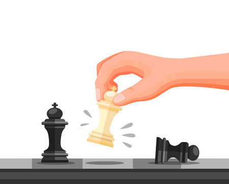 Hand Holding Chess Piece, Chess Strategy Game Checkmate Symbol. Concept in Cartoon illustration Vector isolated in white Background Archivio Fotografico - 151282407