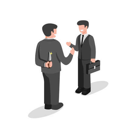 two business man standing and but first one holding knife behind back to backstab. hiding killer concept in cartoon flat illustration vector