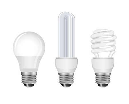 Neon bulb collection set. lightbulp, spiral lamp and smart lamp, energy saver. concept in realistic illustration vector in white background