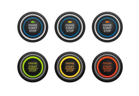 Start stop engine push button car instrument symbol icon set realistic illustration vector on white background Vecteurs