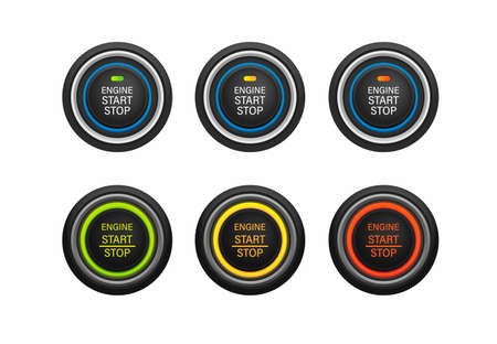 Start stop engine push button car instrument symbol icon set realistic illustration vector on white background Векторная Иллюстрация
