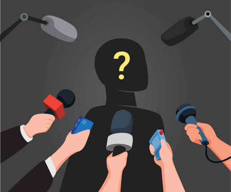 journalist hands holding microphones performing interview with silhouette mysterious people in cartoon illustration vector