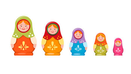 Matryoshka or Babushka nesting doll. handmade toy souvenir traditional from russian collection icon set in flat illustration vector on white background