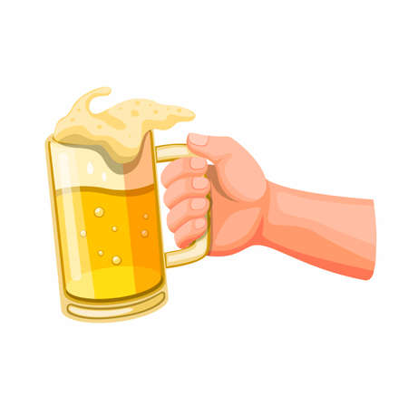Hand holding beer in glass mug, toast and cheer symbol in cartoon illustration vector isolated in white background