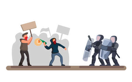 Protesting Crowd Against police, man wear hoodie and mask throwing molotov to Police with shield and protection in cartoon flat illustration vector in white background