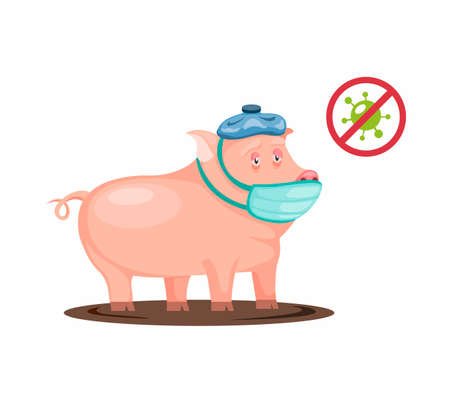 Pig sick got fever and flu wear mask and cool compress symbo. bacteria virus infected on animal pig in cartoon illustration vector