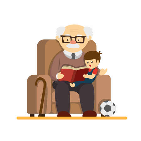 Grandparent day, granpa sit in sofa and reading story book to grandchildren. in cartoon flat illustration vector isolated in white background