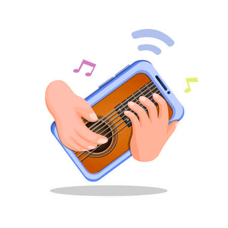 Hand playing guitar on smartphone. virtual music instrument mobile app concept illustration cartoon vector on white background