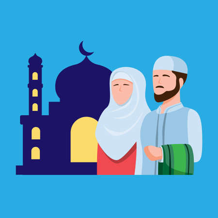 Muslim people praying in mosque, man and woman in front of mosque building silhouette symbol ramadan season in islam religion concept in cartoon flat illustration vector Vetores