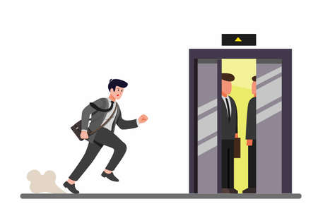 hurried businessman running to inside elevator, office worker late for work in cartoon flat illustration vector