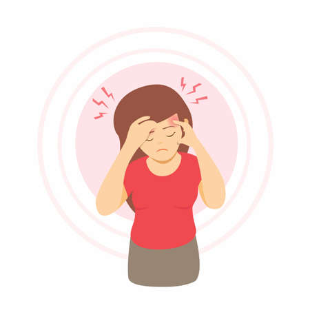 woman having headache, migrain pain. girl touching her temples suffering a headache. cartoon illustration vector isolated in white background Banque d'images - 151433914