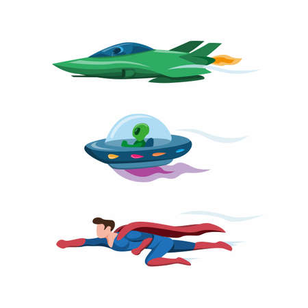 jet plane, ufo and superhero flying fast collection icon set in cartoon flat illustration vector isolated in white background Ilustrace