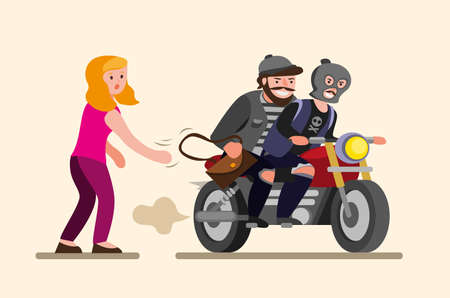 thieves snatch handbag from girl woman has her bag stolen by motorbike mugger in cartoon flat illustration vector