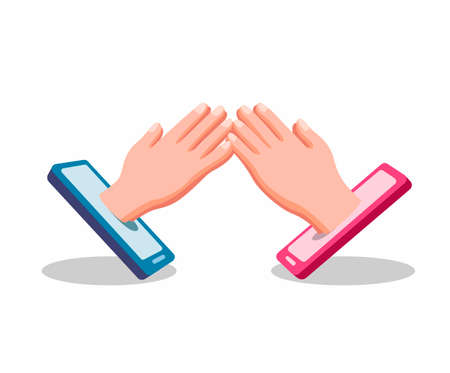 hand shake hand from smartphone symbol people forgive each other in social distancing and ramadan event using technology in cartoon flat illustration vector isolated in white background