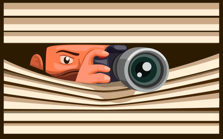 Paparazzi Take Picture using DSLR Camera while hidding, man capture photo behind curtain window in cartoon illustration vector Ilustração