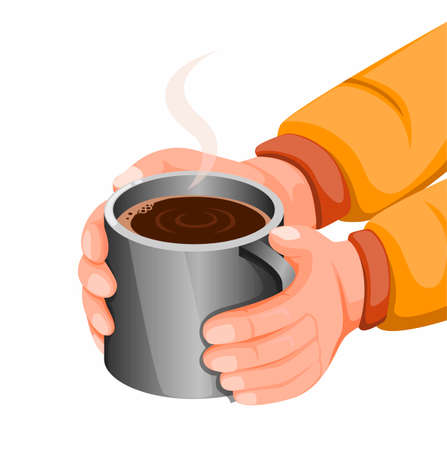 Hand holding hot chocolate or coffee in stainless steel mug, hot drink for stay warm in cold weather or camping activity. concept illustration in cartoon style vector isolated in white background