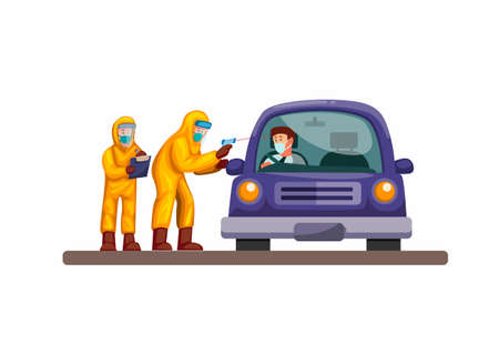 Drive thru rapid test, doctor and scientist wear hazmat suit check driver car from virus infection. concept in cartoon illustration vector on white background