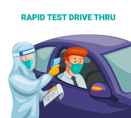 Rapid test drive thru. scientist wear hazmat suit and faceshield check driver in car from corona virus infected concept in cartoon illustration vector on white background